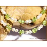 Peridot (Olivin / Chrysolith) Perle - Halskette mit...